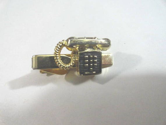Vintage Tie Bar Telephone Gold Tone 1 1/2 Inches