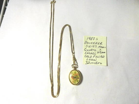 Vintage 1980s Bucherer Swiss Quartz Enamel  Necklace Watch Gold Filled with Gold Filled Chain