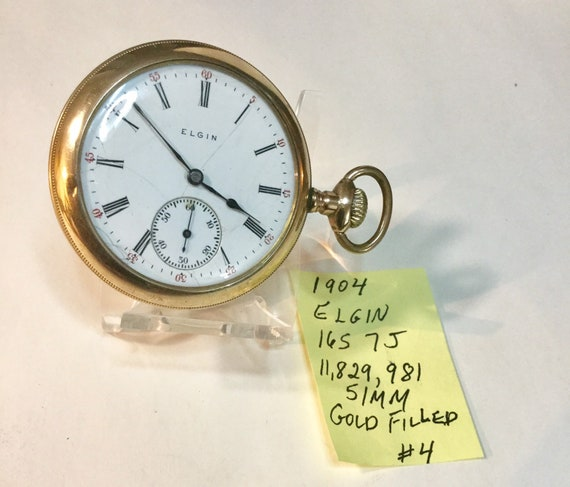 1904 Elgin Pocket Watch 7J 16S Gold Filled Running 51mm 11,829,981