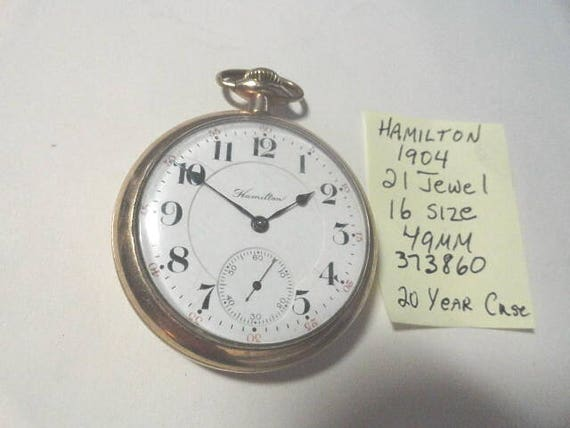1904 Hamilton 21 Jewel Adjusted 5 Positions Pocket Watch 16 Size
