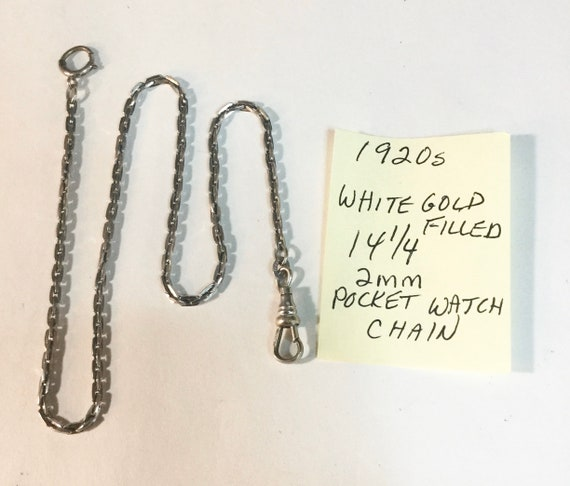 1920s Pocket Watch Chain White Gold Filled 14 1/4 inches 2mm