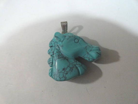 Turquoise Carved Horse Head Vintage Pendant Necklace  1 1/2 inches by 1 1/2 inches
