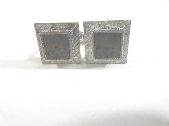 Vintage Sterling Silver Cuff Links 3/4 Inch with Grey Polished Stone Center
