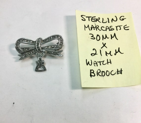 1920s Sterling Marcasite Watch Holder Brooch 30mm by 21mm