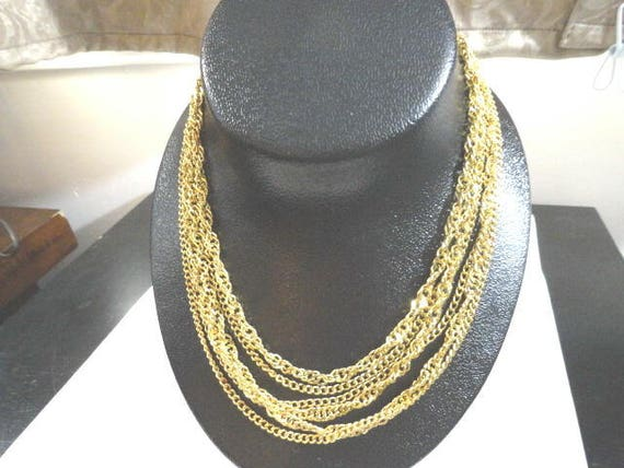 Vintage Crown Trifari Gold Tone Multi Strand Necklace 17 Inches 1 Inch Wide