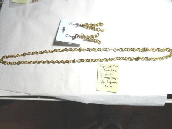 1960s Gold Filled Necklace with Matching Earrings 28 inches 4mm 36.8 grams