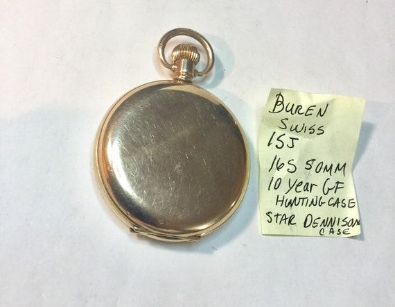 1920s Buren Swiss Pocket Watch Dennison Hunting Case 15J 16S 50mm Running