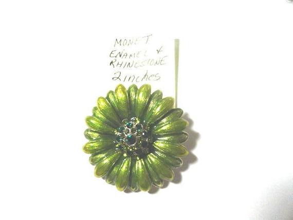Vintage Monet Enamel and Rhinestone Flower Brooch Pin 2 Inches