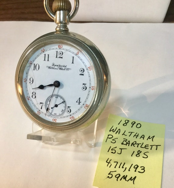 1890 Waltham PS Bartlett Pocket Watch 15J 18S 59mm 4,711,193 Running