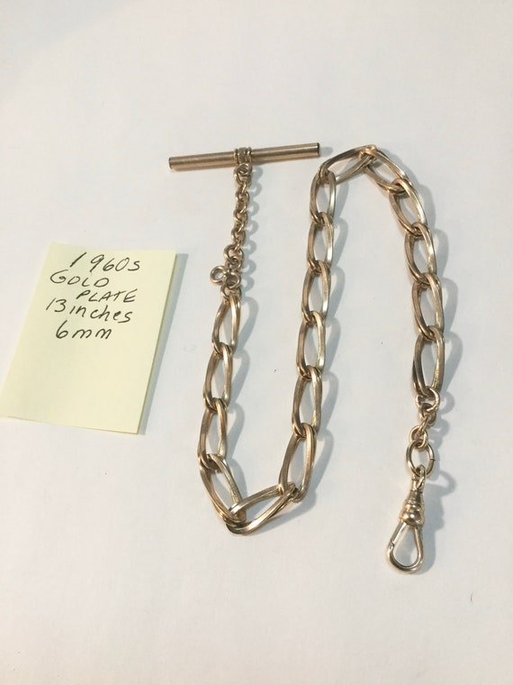 1960s Gold Plate Pocket Watch Chain 13 Inches 6mm