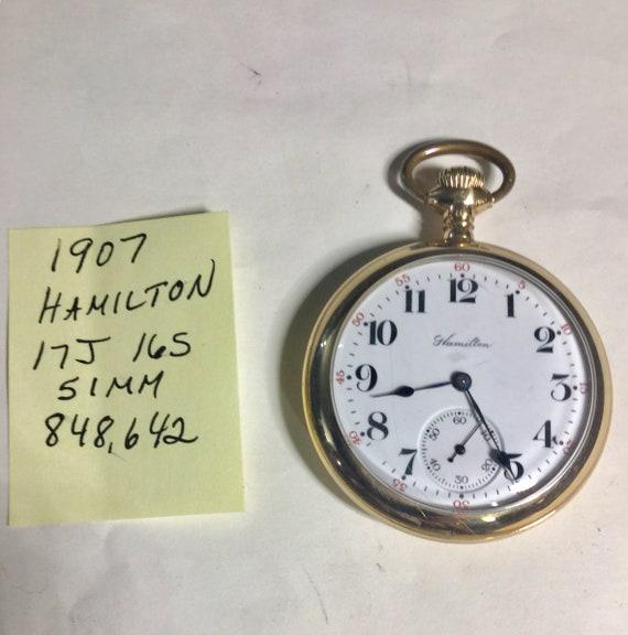 1907 Hamilton Pocket Watch Gold Filled Case 17J 16S 51mm Running