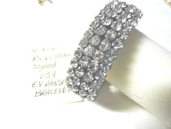 Vintage 4 Row Signed USA Rhinestone Expansion Bangle Bracelet 17mm