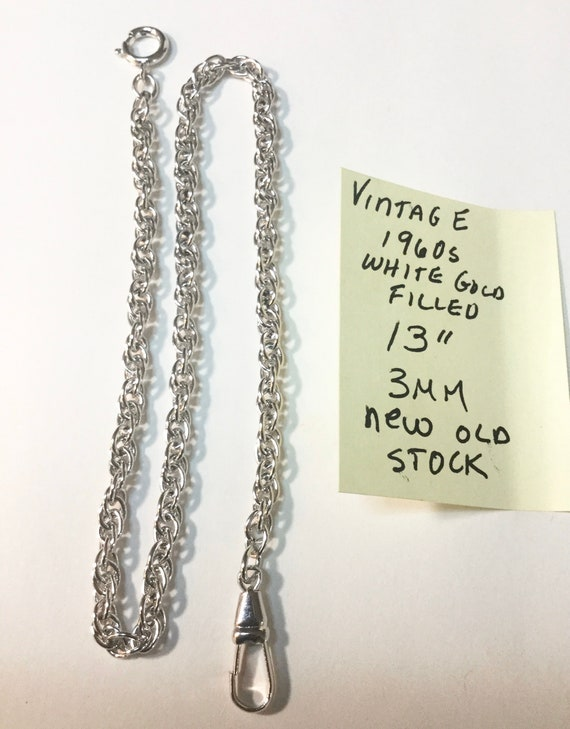 1960s White Gold Filled Pocket Watch Chain 13 inches 3mm New Old Stock