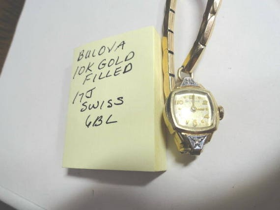 Vintage Bulova Ladys Gold Filled Wrist Watch 17 Jewel Swiss Cal 6BL for Parts or Repair with Expansion Band