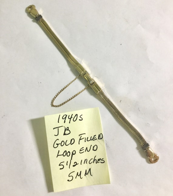 1940s Ladys Loop End Band JB Gold Filled 5 1/2 inches 5mm