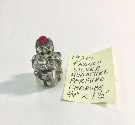1930s French Silver Miniature Perfume Bottle Cherubs 3/4 inches by 1 1/2 inches