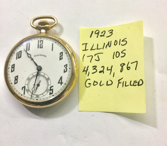 1923 Illinois Pocket Watch 17J 10S Gold Filled Case 4,324,867 Running 44mm