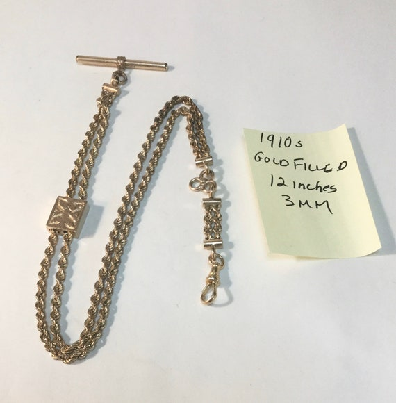 1910 Pocket Watch Chain Gold Filled 12 Inches 3mm T Bar