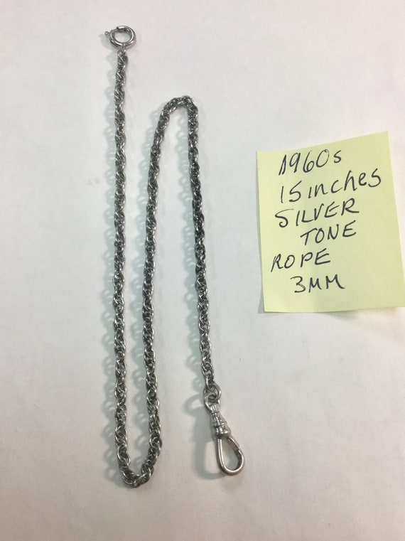 1960s Pocket Watch Chain Silver Tone 15 Inches 3mm