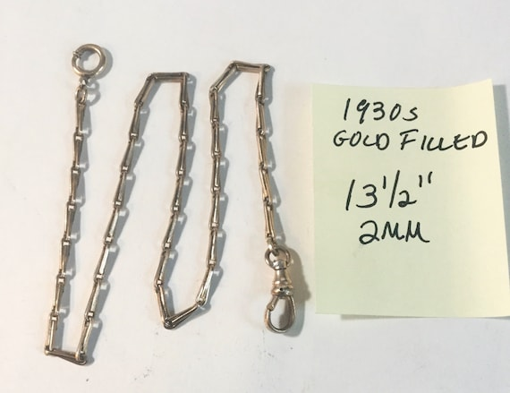 "1930s Gold Filled Pocket Watch Chain 13 1/2"" 2mm"