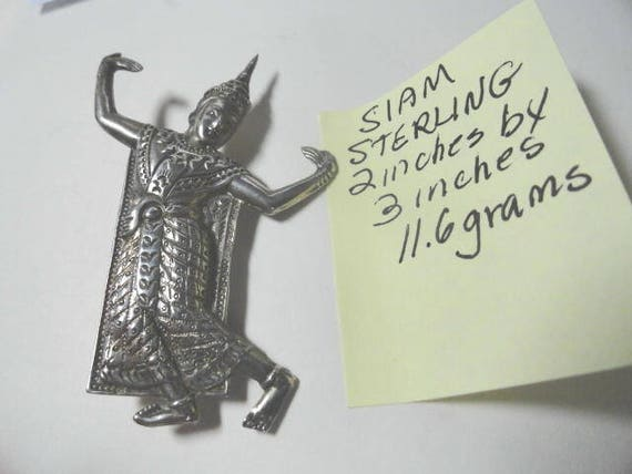 Vintage Siam Sterling Dancing Figure Brooch Pin 2 inches wide 3 inches high 11.6 Grams