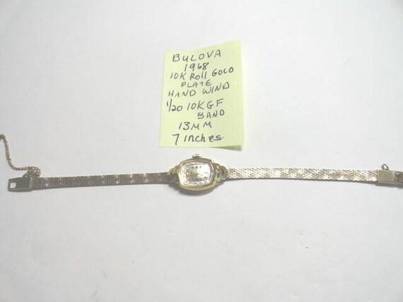 1968 Bulova Ladys Hand Wind Wrist Watch Gold Filled Case and Band 7 Inches