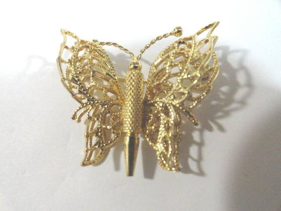 Vintage Monet Gold Tone Butterfly Brooch Pin 1 3/4 inch by 1 1/2 inch
