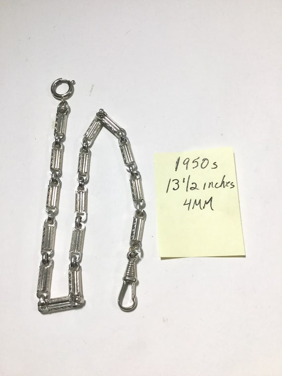 1950s Silver Tone Pocket Watch Chain 13 1/2 inches 4mm