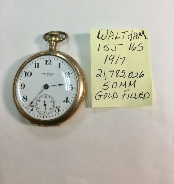 1917 Waltham Pocket Watch 15J 16S Gold Filled Case 50mm Running