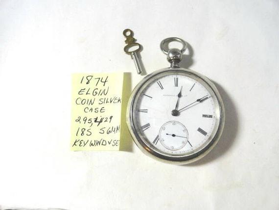 1874 Elgin Pocket Watch Key Wind Key Set Coin Silver Case 18 Size 56mm Running