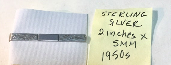 1950s Sterling Silver Fancy  Tie Bar 2 inches by 5mm