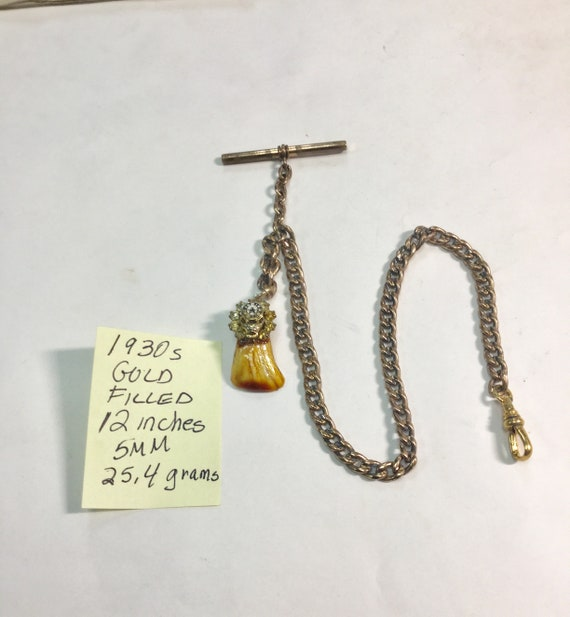 1930s Gold Filled Pocket Watch Chain and Fob 12 inches 5mm 25.4 grams