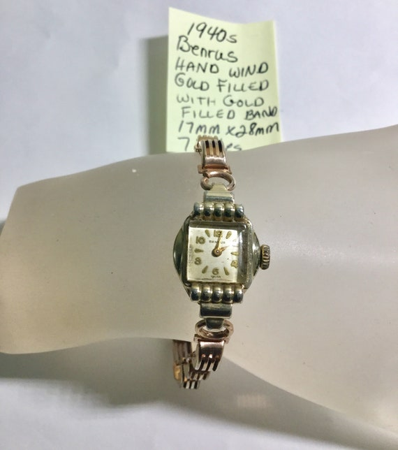 1940s Ladys Benrus Gold Filled Hand Wind Wristwatch 17mm by 28mm Running
