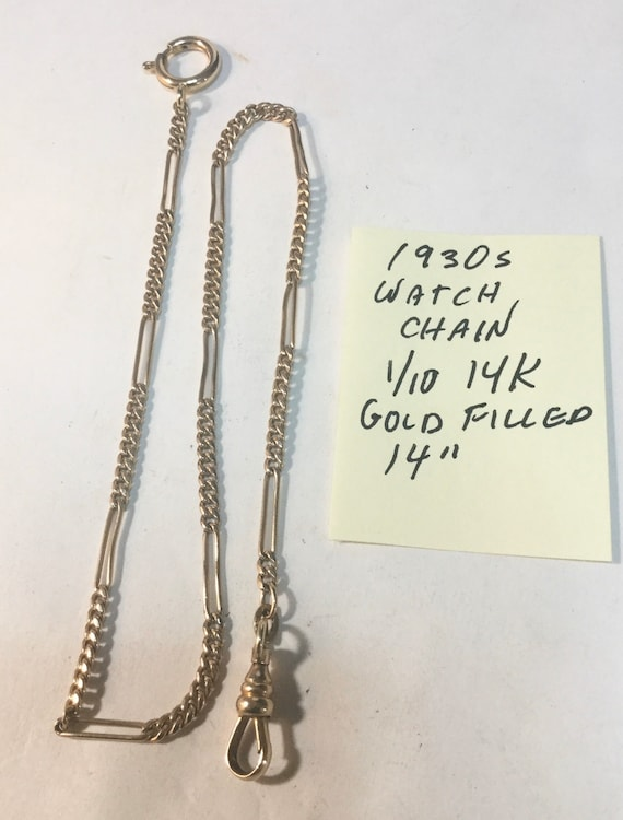 "1930s Gold Filled Pocket Watch Chain 14"" 2mm 1/10 14K"
