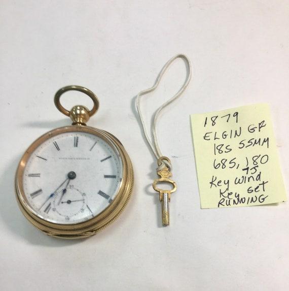 1879 Elgin Gold Filled Pocket Watch Key Wind Key Set 7 Jewel 18S 55mm Running