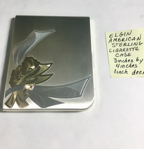 1950s Elgin American Sterling Silver Cigarette Case 3 inches by 4 inches 1 inch deep