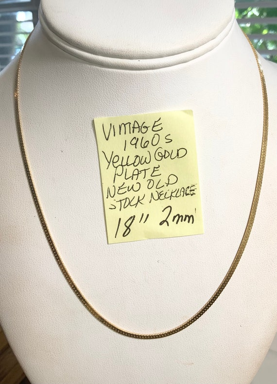 """Vintage 1960s Yellow Gold Plate New Old Stock Chain Necklace 18"""" 2mm"""