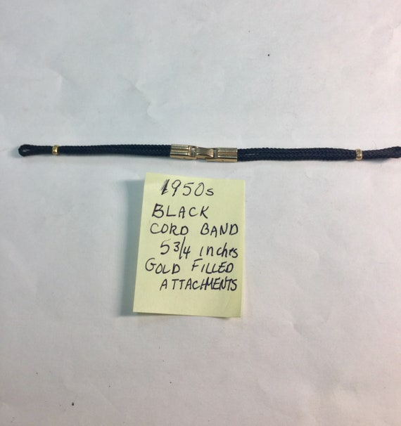 1950s  Lady Black Cord Loop End Band Gold Filled Attachments 5 3/4 inches
