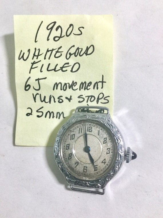 1920s Ladys Wristwatch White Gold Filled with Lace Expansion Band Parts or Repair Runs & Stops