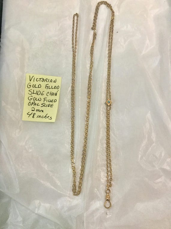Victorian Gold Filled Slide Chain Lavalier 48 inches 2mm 9.5 grams