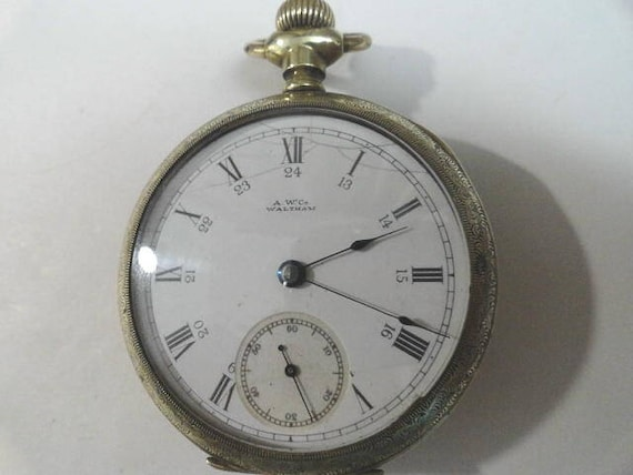 1889 Waltham Pocket Watch 7 Jewel Gold Filled Case 24 Hour Inner Chapter Ring Dial 18 Size 54mm