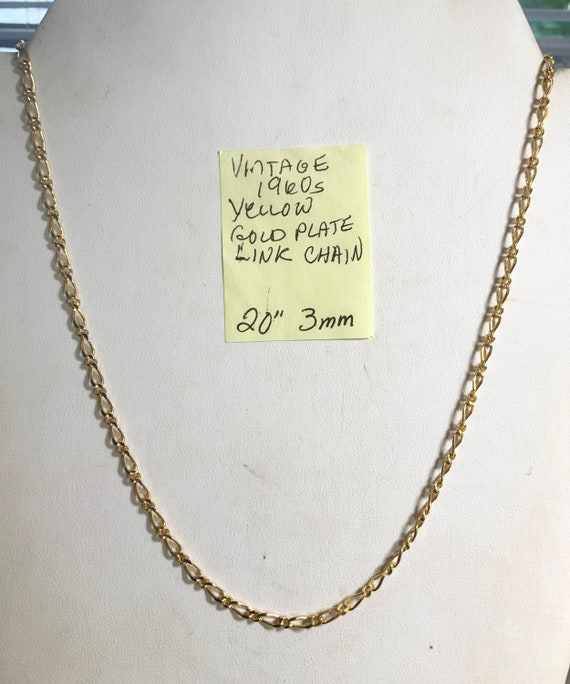 """Vintage 1960s New Old Stock Yellow Gold Plate Link Necklace 20"""" 3mm"""