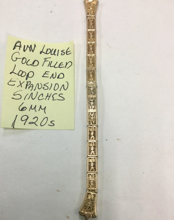 1920s Anne Louise Gold Filled Loop End Expansion Band 5 inches long 6mm