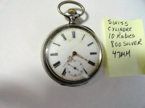1900 Swiss  Pocket Watch 800 Silver Case 47mm Running
