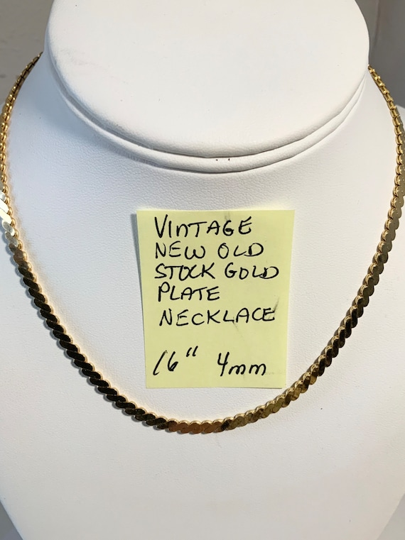 "Vintage New Old Stock Gold plate Necklace 16"" 4mm"