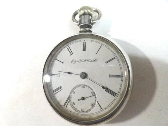 1888 Elgin pocket Watch 15 Jewel Running 18 Size Silver Plate Case 55mm