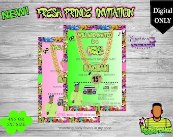 Prince invitation etsy fresh prince birthday invitation90s hip hop partydance party invitationteen birthdaydigitalparty favorsyou print stopboris Images