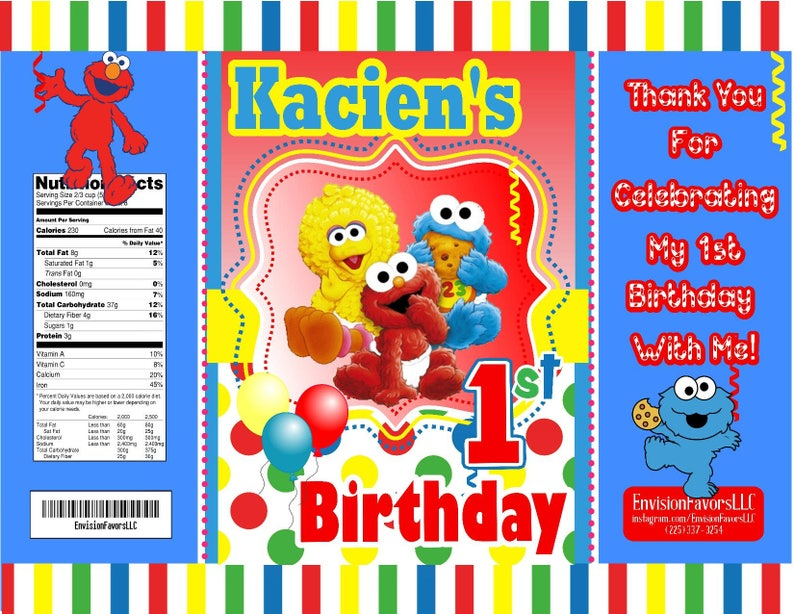 Sesame street inspired Chip Bags Favors File|Digital| Favor Bags| Snack  Bags|treat bags|Unlimited Printing|Birthday|1st Birthday