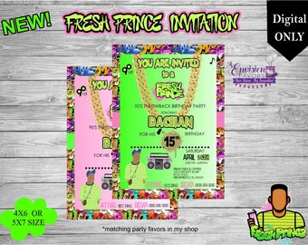 Fresh Prince Birthday Invitation|90's hip hop party|dance party Invitation|Teen Birthday|Digital|Party favors|YOU PRINT