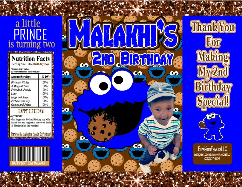 Cookie Monster Theme Chip Bags|Customizable| Party|Chip bags|1st 2nd  birthday|Cookie Monster Party|Sesame Street|DIGITAL (You Print)